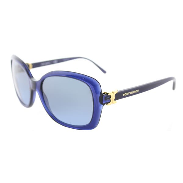 bbe90c4663ef Tory Burch TY 7101 15658F Navy Translucent Plastic Rectangle Sunglasses  Navy Gradient Lens ...