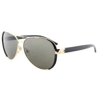 Tory Burch TY 6052 31333 Gold Black Metal Aviator Sunglasses Brown Lens