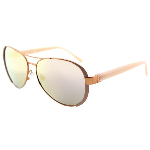 bbc41cfdc077 Tory Burch TY 6052 3202R5 Rose Gold Blush Metal Aviator Sunglasses Rose Gold  Mirror Lens