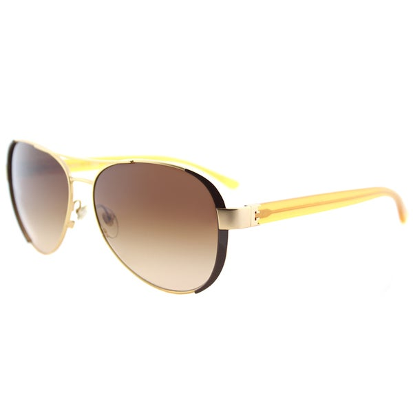 c32257f26f Tory Burch TY 6052 320313 Gold Coconut Metal Aviator Sunglasses Brown  Gradient Lens. Click to Zoom