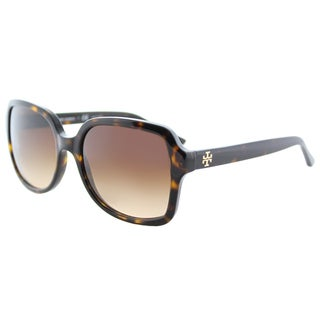 Tory Burch TY 7102 137813 Dark Tortoise Plastic Square Sunglasses Brown Gradient Lens