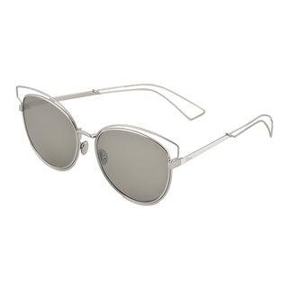 Dior Dior Sideral 2/S JB0 SF Palladium White Metal Round Sunglasses Black Mirror Lens