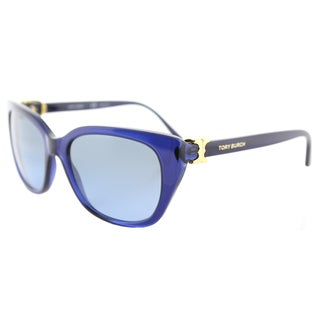 Tory Burch TY 7099 15658F Navy Translucent Plastic Cat-Eye Sunglasses Navy Gradient Lens