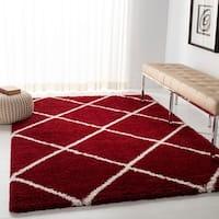 Safavieh Hudson Red / Ivory Shag Rug - 4' x 6'