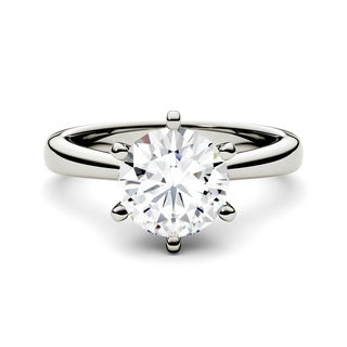 Charles & Colvard 14k White Gold 1 1/2ct DEW Forever One Round Colorless Moissanite Solitaire Ring