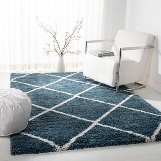 Safavieh Hudson Slate Blue / Ivory Shag Rug (5' x 8')