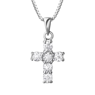 Charles & Colvard 14k White Gold 2/5ct DEW Forever Brilliant Moissanite Cross Pendant