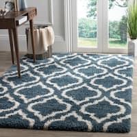 Safavieh Hudson Slate Blue / Ivory Shag Rug - 8' x 10'