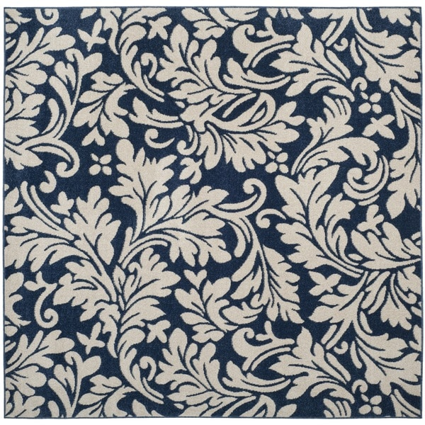 Safavieh Amherst Indoor / Outdoor Navy / Ivory Rug (7' Square)