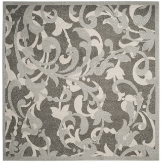 Hand Tufted Rotura Charcoal Floral Wool Rug 8 X 8