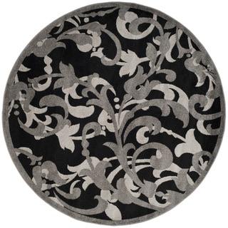 Safavieh Amherst Orpha Modern Indoor/ Outdoor Rug (7 x 7 Round - Anthracite/Light Grey)