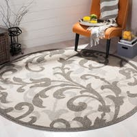 Safavieh Amherst Indoor / Outdoor Ivory / Grey Rug (7' Round)