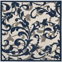 Safavieh Amherst Indoor / Outdoor Ivory / Navy Rug (7' Square)
