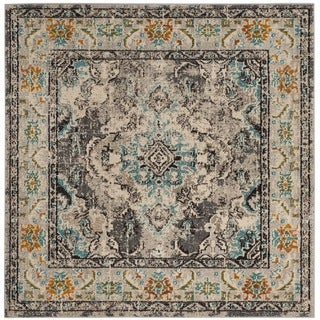 Safavieh Monaco Bohemian Medallion Grey / Light Blue Distressed Rug (5' Square)