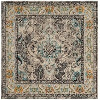 Safavieh Monaco Bohemian Medallion Grey / Light Blue Distressed Rug - 5' Square