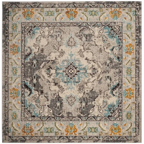 Safavieh Monaco Bohemian Medallion Grey / Light Blue Distressed Rug - 6' 7 Square