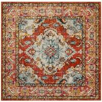 Safavieh Monaco Bohemian Medallion Orange/ Light Blue Distressed Rug - 5' Square