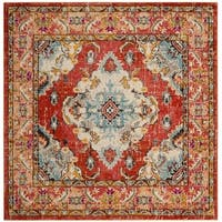 Safavieh Monaco Bohemian Medallion Orange/ Light Blue Distressed Rug - 6' 7 Square