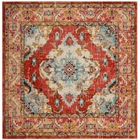 Safavieh Monaco Bohemian Medallion Orange/ Light Blue Distressed Rug (6' 7 Square)