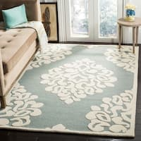 Martha Stewart by Safavieh Floral Damask Dune Wool Area Rug - 4' Round