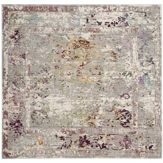 Safavieh Mystique Watercolor Grey Multi Silky Rug (6' 7 Square)