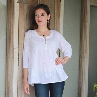 Handmade Cotton 'Morning Song' Tunic (India)