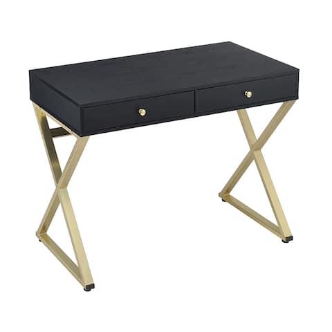 Acme Furniture Coleen Desk, Black & Brass