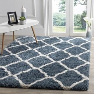 Safavieh Hudson Slate Blue / Ivory Shag Rug (7' Square)