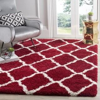 Safavieh Hudson Red / Ivory Shag Rug (7' Square)