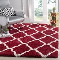 Safavieh Hudson Red / Ivory Shag Rug - 7' Square