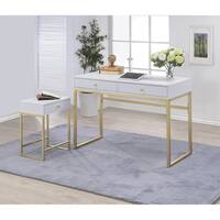 Silver Orchid Heston White & Brass Desk
