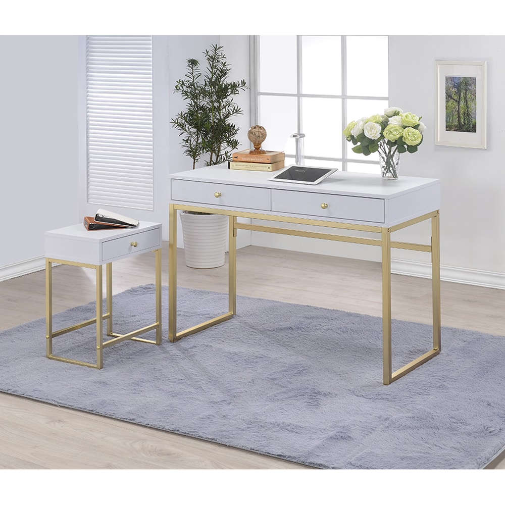Silver Orchid Heston White & Brass Desk