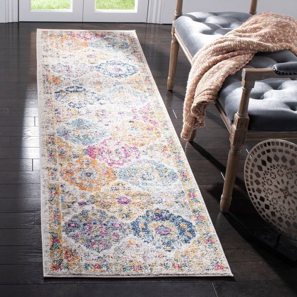 "Safavieh Madison Bohemian Vintage Cream/ Multi Distressed Runner Rug - 2'3"" x 12'"
