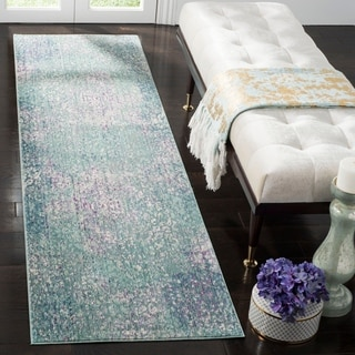 Safavieh Mystique Watercolor Blue/ Multi Distressed Silky Polyester Runner (2' 3 x 8')