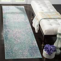 Safavieh Mystique Watercolor Blue/ Multi Silky Runner Rug - 2' 3 x 8'