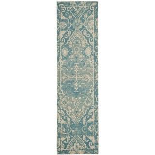 Safavieh Handmade Restoration Vintage Light Blue/ Ivory Wool Distressed Runner (2' 3 x 8')