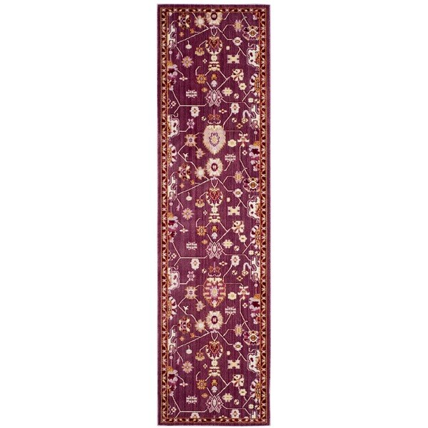 Safavieh Valencia Fuchsia/ Multi Distressed Silky Polyester Runner Rug - 2' 3 x 8'