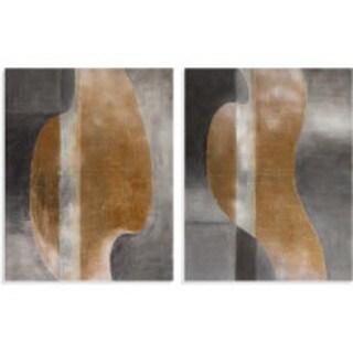 'Golden Waves' Abstract Modern Canvas Art