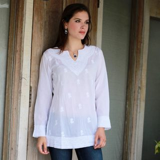 Handmade Cotton 'Florid Fantasia' Tunic (India) (2 options available)