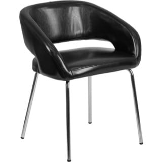 Offex Fusion Series Contemporary Black LeatherSoft Reception Lounge Chair