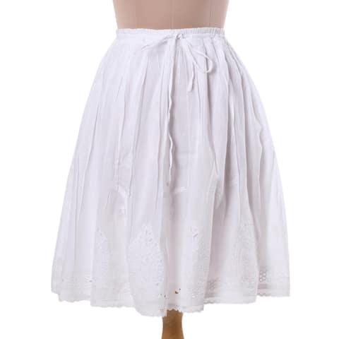 Handmade Cotton 'Magical Leaves' Skirt (India)