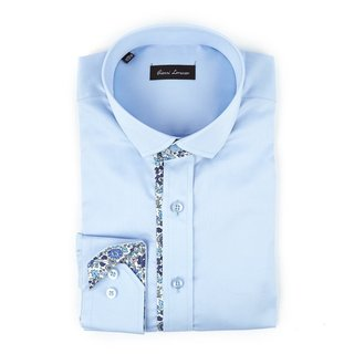 Men's Fashion Light Blue and Floral Trim 100 percent Cotton Full Sleeve Shirt