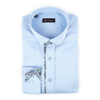 Men's Fashion Light Blue and Floral Trim 100 percent Cotton Full Sleeve Shirt|https://ak1.ostkcdn.com/images/products/14574106/P21121773.jpg?impolicy=medium
