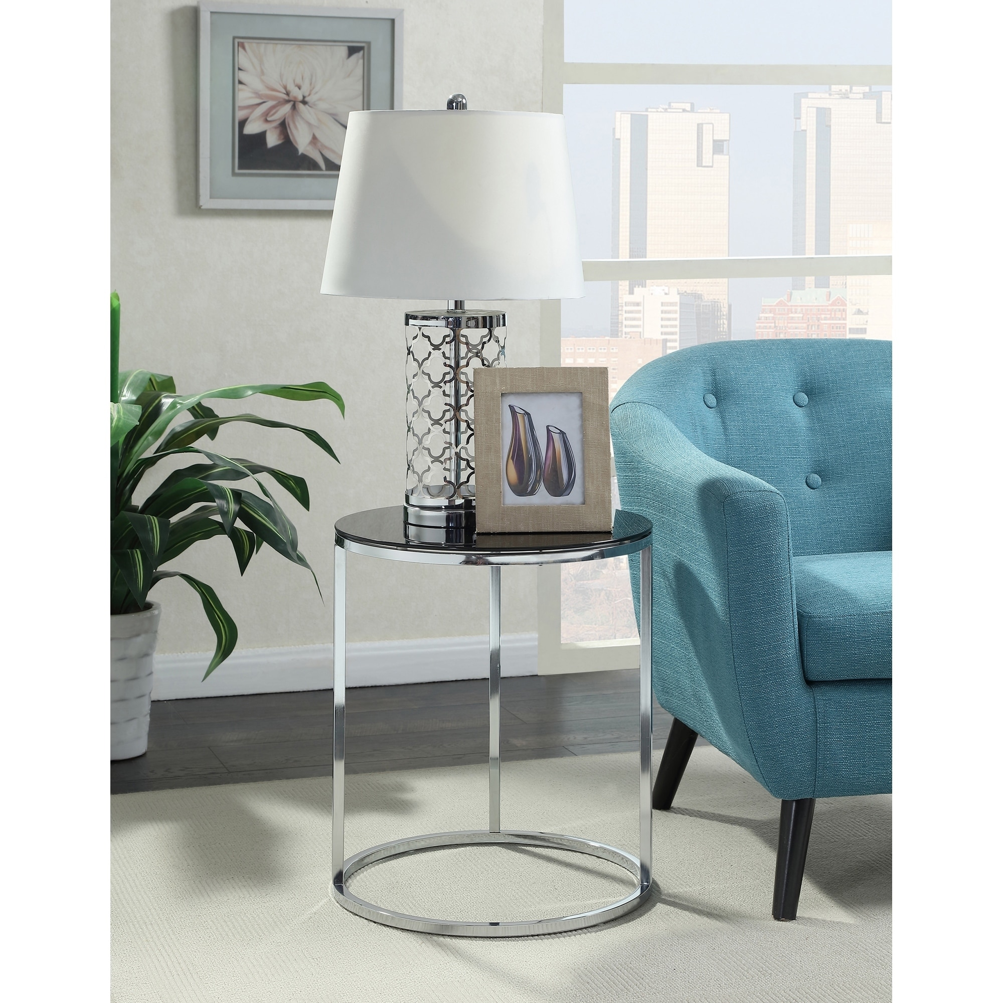 Convenience Concepts Royal Crest Round End Table, Grey/Bl...