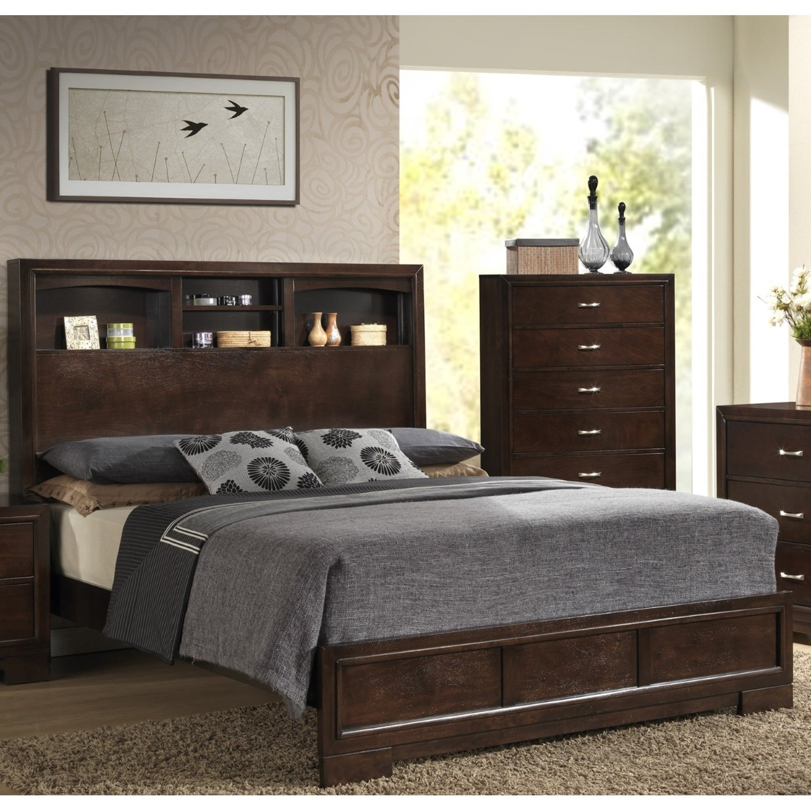 Lyke Home Cappuccino Finish Queen Bed with Storage Headbo...