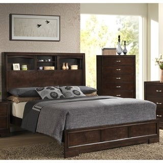 LYKE Home Cappuccino Finish Queen Bed with Storage Headboard