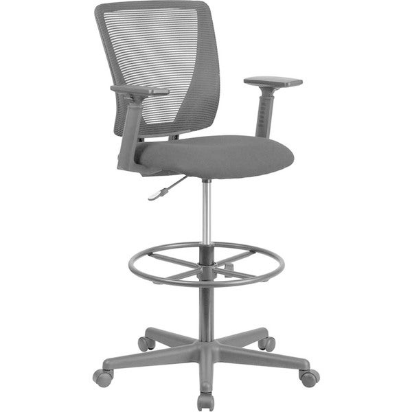 Offex Ergonomic Mid-back Black Mesh Height-Adjustable Drafting Chair with Armrests