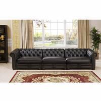 Mateo Grey Tufted Premium Top Grain Leather Sectional Sofa