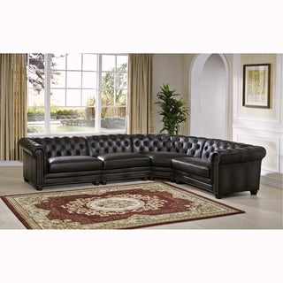 Connor Premium Top Grain Grey Tufted Leather Sectional Sofa