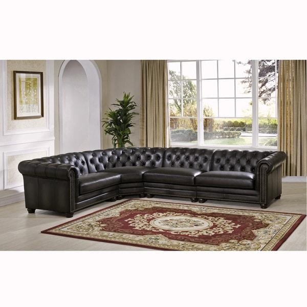 Shop Bono Premium Top Grain Grey Tufted Leather Sectional